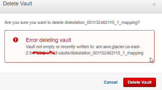 Error Deleting vault - AWS Amazon Glacier